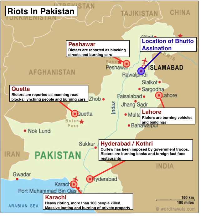 Map – Riots In Pakistan