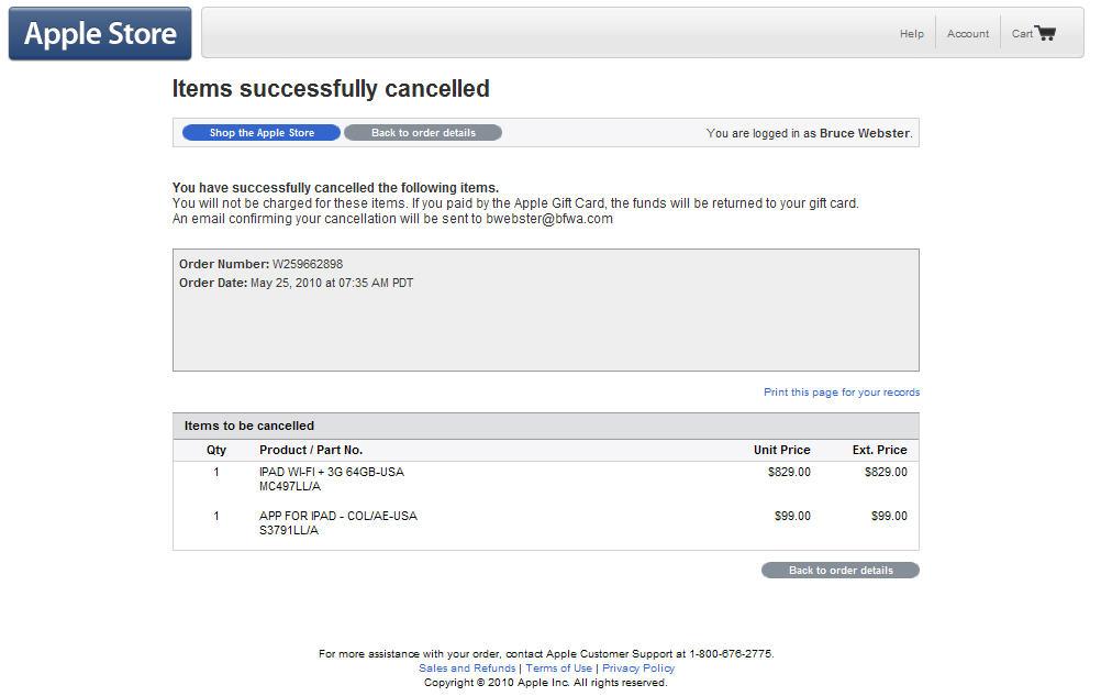 I just canceled my iPad order
