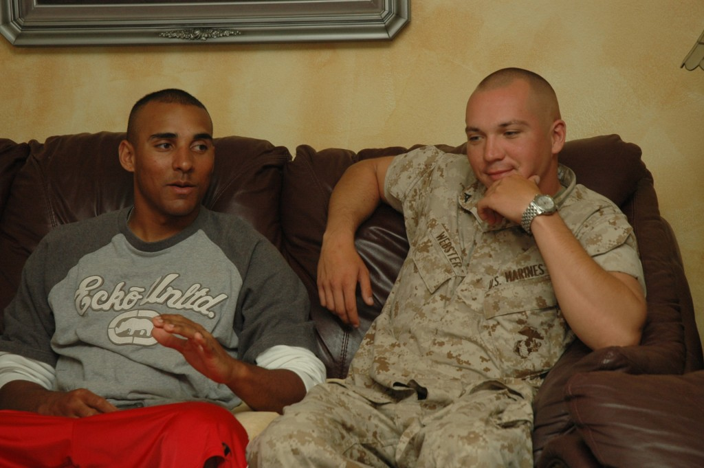 Darren Green (USMC) and Jon Webster (USMC), right after Darren's completion of USMC Boot Camp, May 2008.